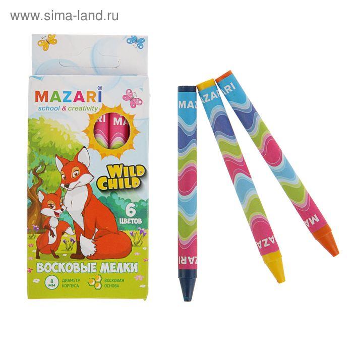 Мелки восковые 6 цветов Wild Child круглые, длина 89 мм, d корпуса=8мм