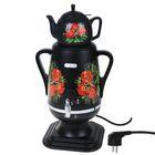 """Самовар электрический """"Добрыня"""" DO-423, 1850 Вт, 4 л, черный/цветы"""