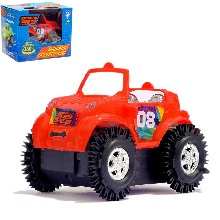 """Машина-перевертыш """"Кабриолет"""", работает от батареек, цвета:МИКС"""