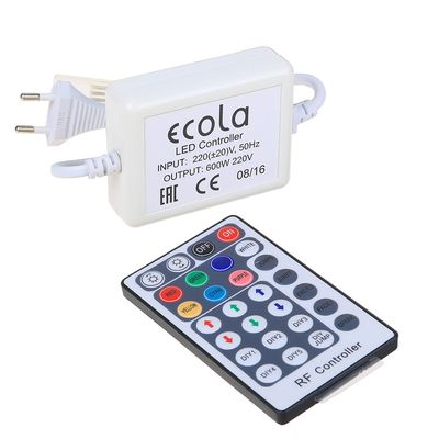Контроллер Ecola, для RGB ленты 14 х 7 мм, 220 В, 600 Вт, 2.7 А, IP68, радиопульт