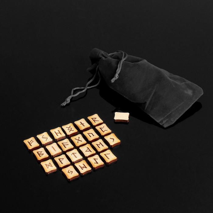 Набор скандинавских рун, 25 шт., бук (в комплекте мешочек)