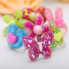 Кольцо детское 'Выбражулька' блестящее, цвет МИКС, форма МИКС, безразмерное Ош