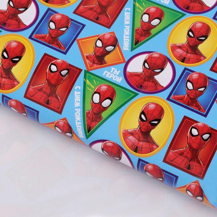 """Бумага упаковочная глянцевая """"С Днем Рождения"""", 50х70 см, Человек-паук"""