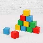 Кубики цветные, 16 деталей, в деревянной коробке - Фото 2