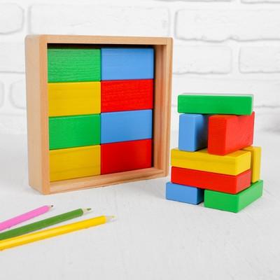 Кирпичики цветные, 16 деталей, в деревянной коробке - Фото 1