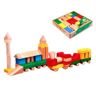 Конструктор цветной, 75 деталей, в деревянной коробке - Фото 1