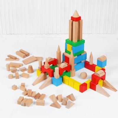 Конструктор цветной, 100 деталей, в деревянной коробке - Фото 1