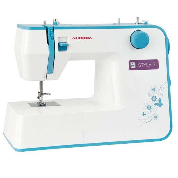 Швейная машина Aurora Style 5, 70 Вт, 19 операций, полуавтомат, бело-голубая