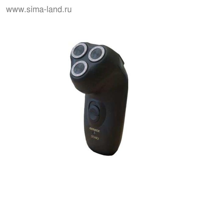 Бритва Бердск 3340M, роторная, 3 бритвенные головки, сухое бритьё, триммер, чёрная