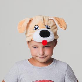 Шапка 'Собака бежевая с мохнатой мордочкои' размер 52-57см Ош