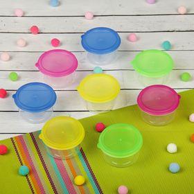 Набор контейнеров пищевых с крышками, для хранения детского питания, 8 шт., круглые, цвета МИКС