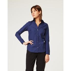 Рубашка женская, размер XL(50), цвет синий, 65% хлопок + 35% п/э Ош