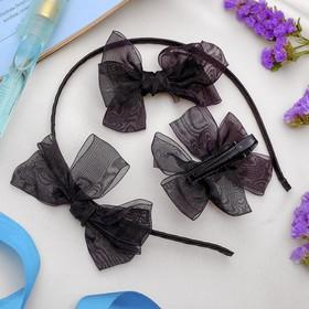 Набор для волос 'Воздушный' (2 зажима,1 ободок) черный Ош
