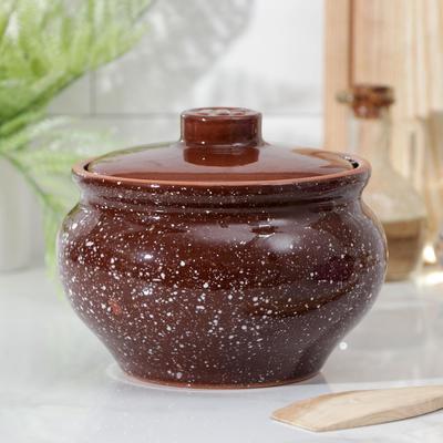 Горшочек традиционный «Мрамор коричневый», 1 л - Фото 1