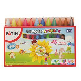 Мелки восковые 12 цветов Fatih Jumbo 95/12 мм, пастель трёхгранная