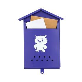 Ящик почтовый без замка (с петлёй), вертикальный, «Домик», синий Ош