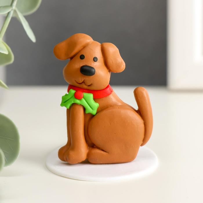Сувенир полимерная глина Собака Шери 4,3х4,5 см