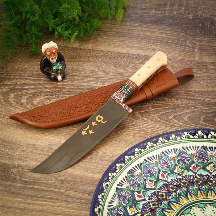Пчак Шархон, рукоять из кости ёрма, гарда с гравировкой