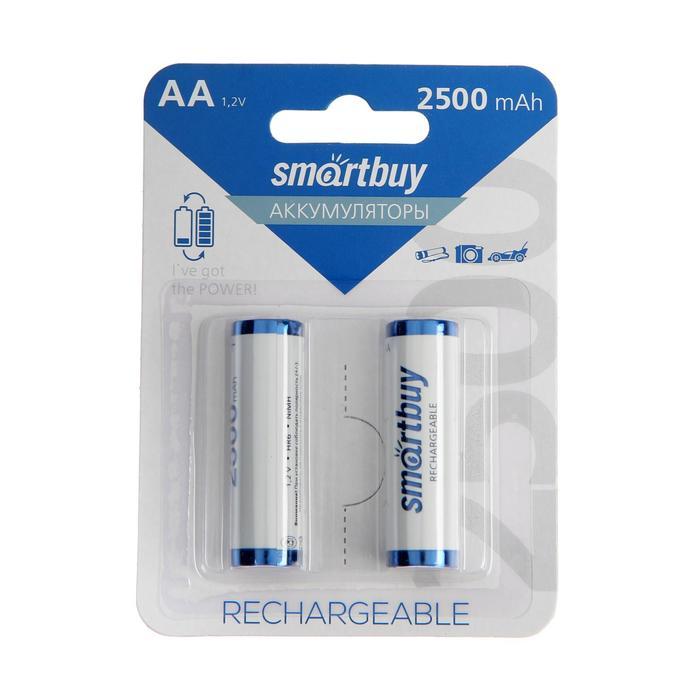 Аккумулятор Smartbuy, Ni-Mh, AA, HR6-2BL, 1.2В, 2500 мАч, блистер, 2 шт.