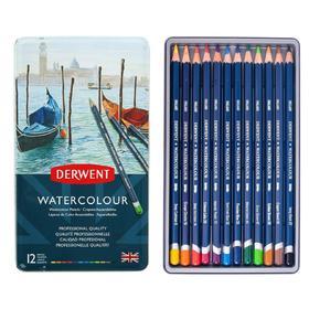 Карандаши художественные акварельные Derwent WaterColour, 12 цветов, в металлической коробке