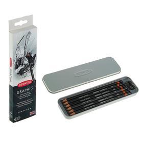 Набор карандашей чернографитных разной твердости Derwent Graphic 6 штук, 2H-8B + точилка, металлический пенал