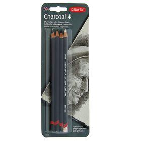 Уголь в карандаше, набор для графики Derwent Charcoal, 4 штуки (+ писательный карандаш)