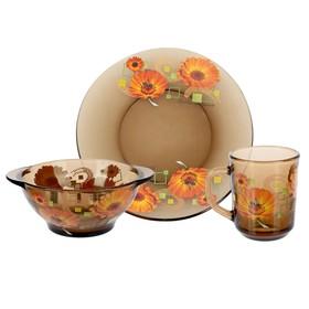 Набор для завтрака «Маргаритки»: тарелка d=20,5 см, миска 510 мл, кружка 210 мл, цвет дымка