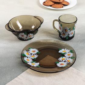 Набор для завтрака «Ромашковое поле», 3 предмета: тарелка d=20,5 см, миска 510 мл, кружка 210 мл, цвет дымка