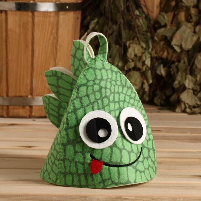 """Банная шапка """"Дракончик с гребнем"""", фетр зелёный"""