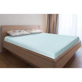 Простыня трикотажная на резинке, 90х200х20, цвет голубой, 125 гр/м2
