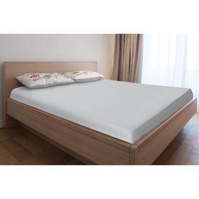Простыня трикотажная на резинке, 160х200х20, цвет серый, 125 гр/м2