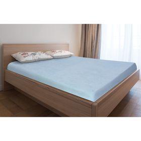 Простыня махровая на резинке, 90х200х20, цвет голубой, 160 гр/м2