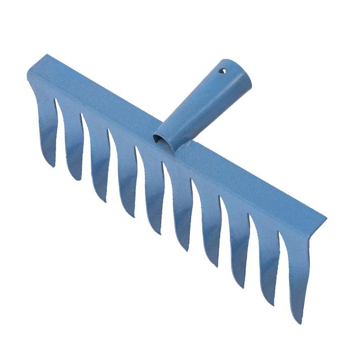 Грабли прямые, повёрнутый зубец, 10 зубцов, металл, тулейка 28 мм, без черенка