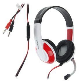 Наушники Defender Warhead G-120, игровые, полноразмерные, микрофон, 3.5мм, 2 м,черно-красные Ош