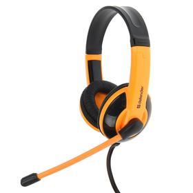 Наушники Defender Warhead G-120, игровые, микрофон, 3.5 мм, 2 м, чёрно-оранжевые Ош
