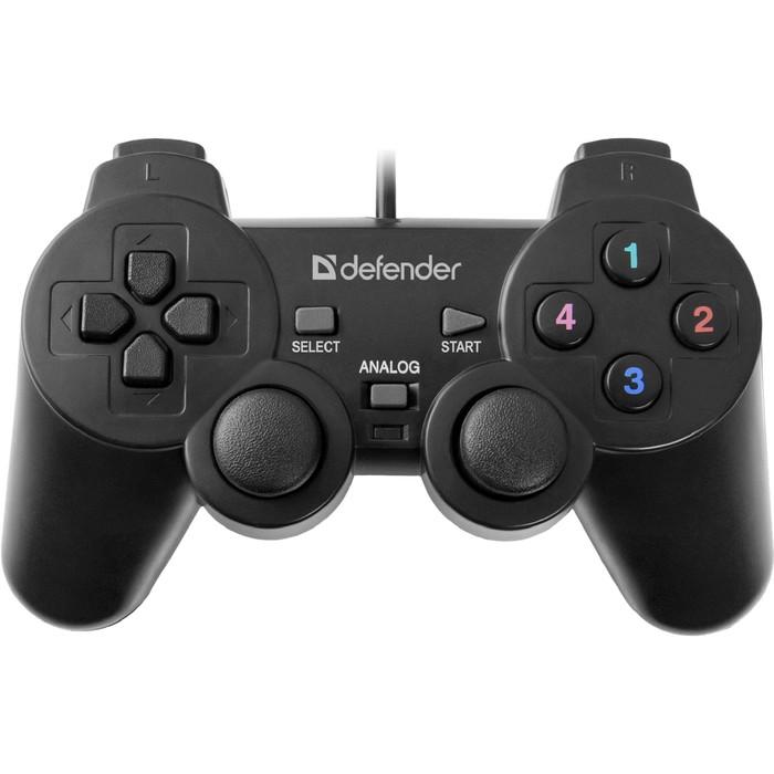 Геймпад Defender Omega USB, проводной, вибрация, для PC, USB, черный