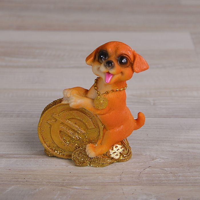 Сувенир полистоун Собачка с долларамимонетами МИКС 8,5х6х4,5 см