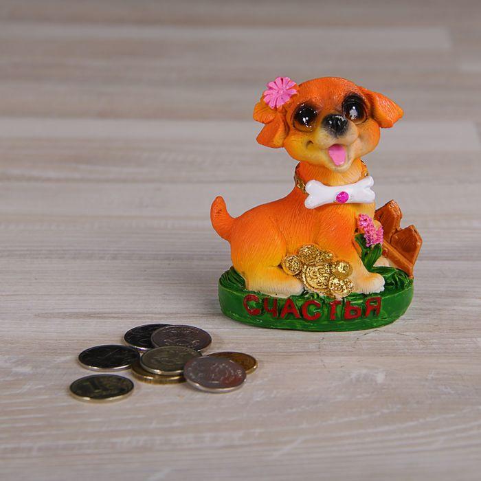 Сувенир полистоун Собака на полянке с цветами и монетками МИКС 9х7х5 см