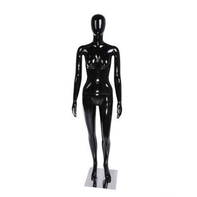 Манекен женский, безликий, обхват 84*60*90, H=178 см, на подставке, чёрный глянец