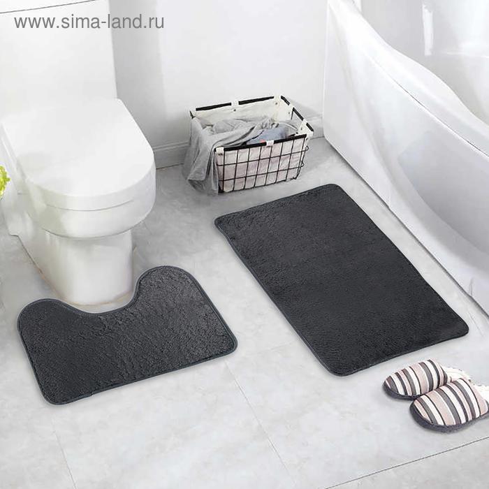 Набор ковриков для ванны и туалета «Пушистик», 2 шт: 40×50, 50×80 см, цвет серый