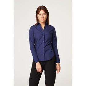 Рубашка женская с рельфами, размер 48, цвет синий, 65% хлопок + 35% п/э Ош