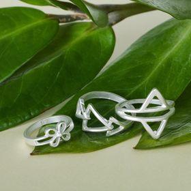 Кольцо 'Ассорти' треугольники, размер 14,17,18 МИКС, цвет матовое серебро Ош