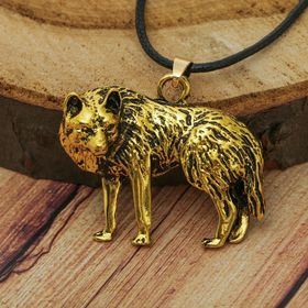 Кулон мужской 'Волк', цвет чернёное золото, 40 см Ош