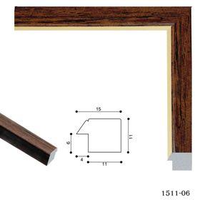 Багет пластиковый 15 мм х 11 мм х 2.9 м (ШхВхД), 1511-06-G, коричневый с золотым Ош