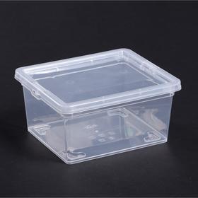 Ящик для хранения с крышкой 2 л, 19×16×9 см, цвет прозрачный