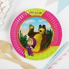 Тарелка бумажная «Маша и Медведь», 17см, набор 6 шт.