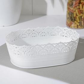 Ваза для хлеба и фруктов IDEA «Ажур», d= 22 см, цвет белый