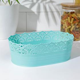 Ваза для хлеба и фруктов IDEA «Ажур», D=22 см, цвет аквамарин