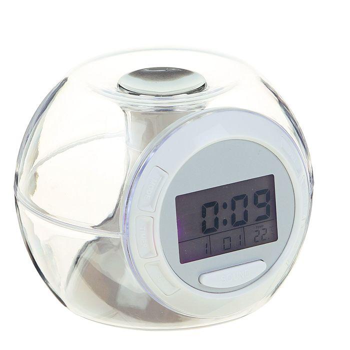 Будильник LuazON LB-06, 7 цветов дисплея, 6 мелодий, прозрачный