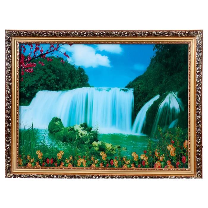 Световая картина Водопад и цветы 6050 см